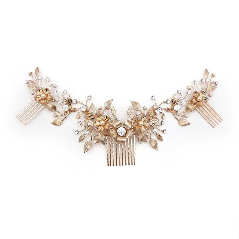 crystal and pearl large bridal hair comb