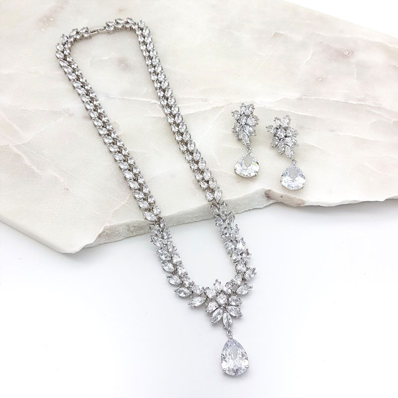 silver bridal tear drop necklace set