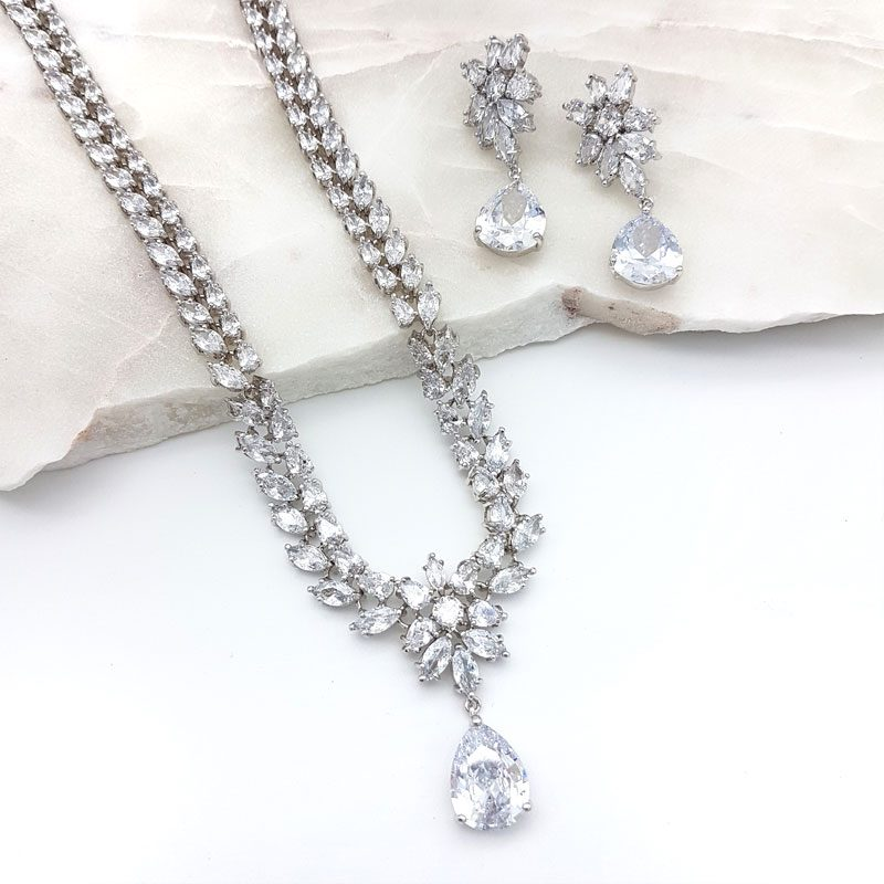 silver tear drop cz bridal necklace set