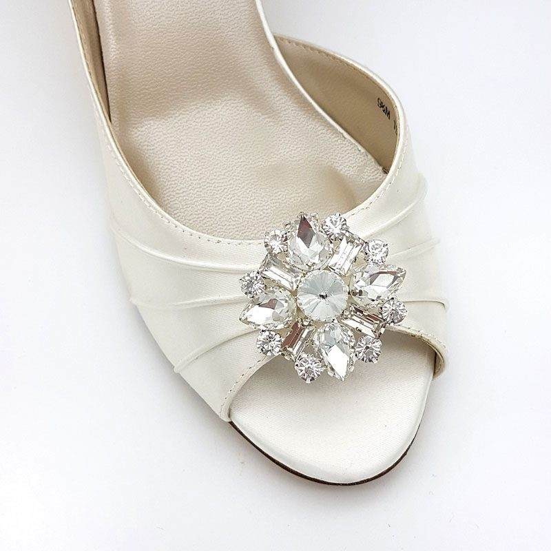 silver crystal bridal shoe clips