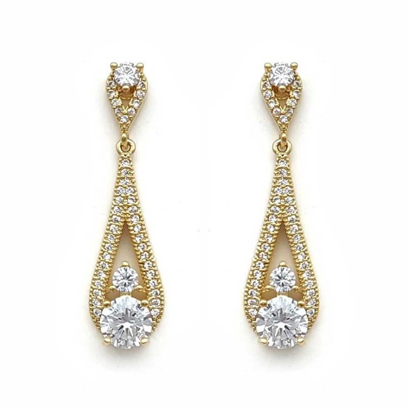 gold drop bridal earrings