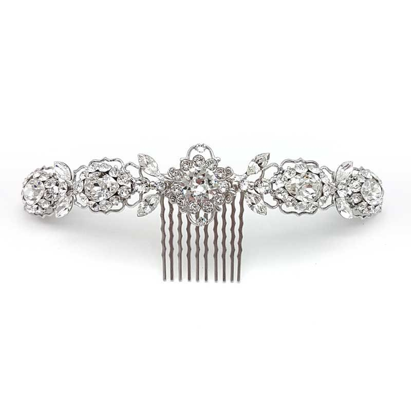silver crystal bridal hair comb