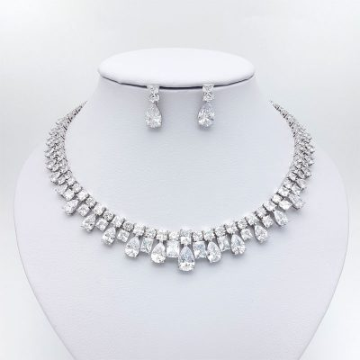 silver collar bridal necklace set