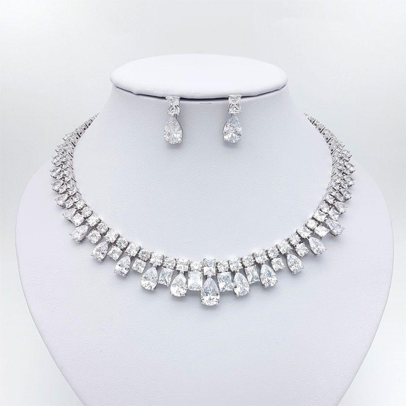 silver collar bridal necklace set