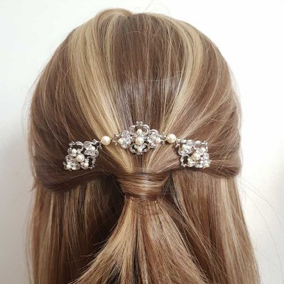 Silver pearl and crystal bridal hair comb