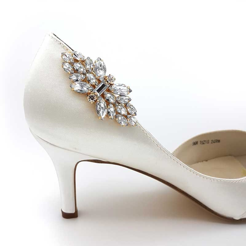 gold bridal shoe clips
