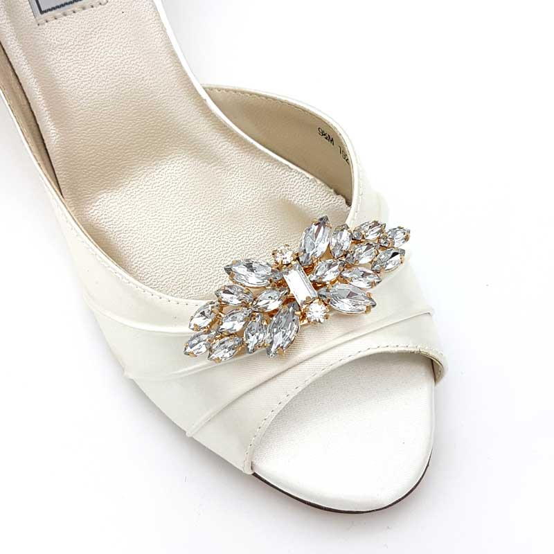 gold crystal bridal shoe clips