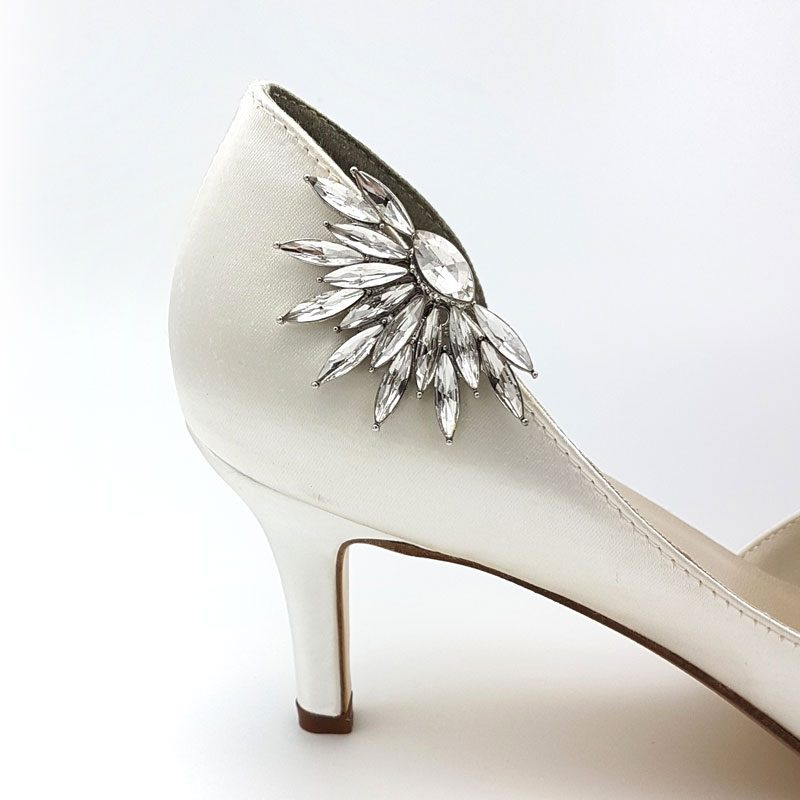 silver crystal shoe clips