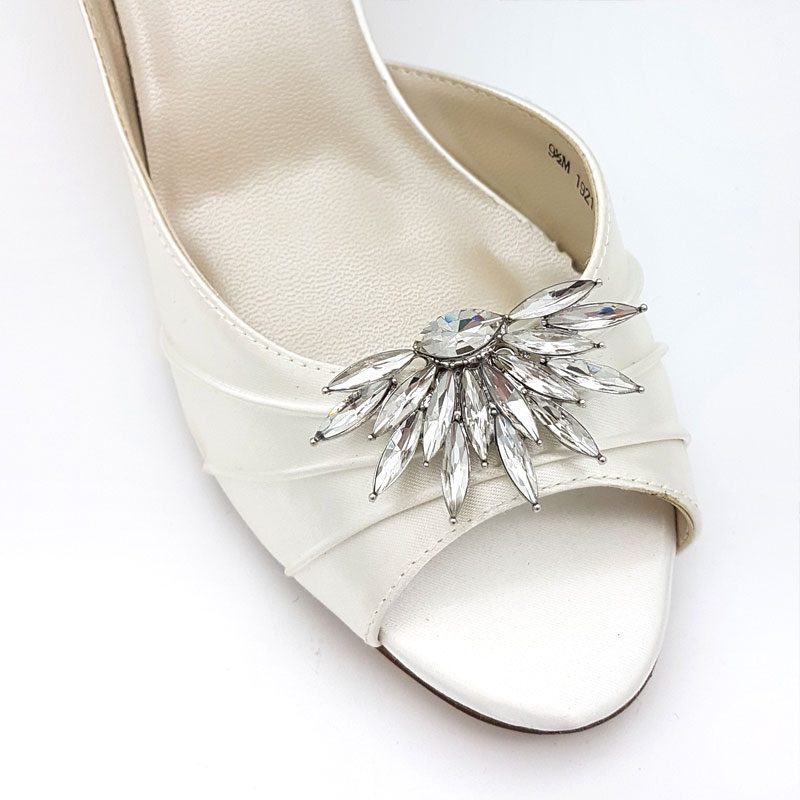 silver diamante bridal shoe clips