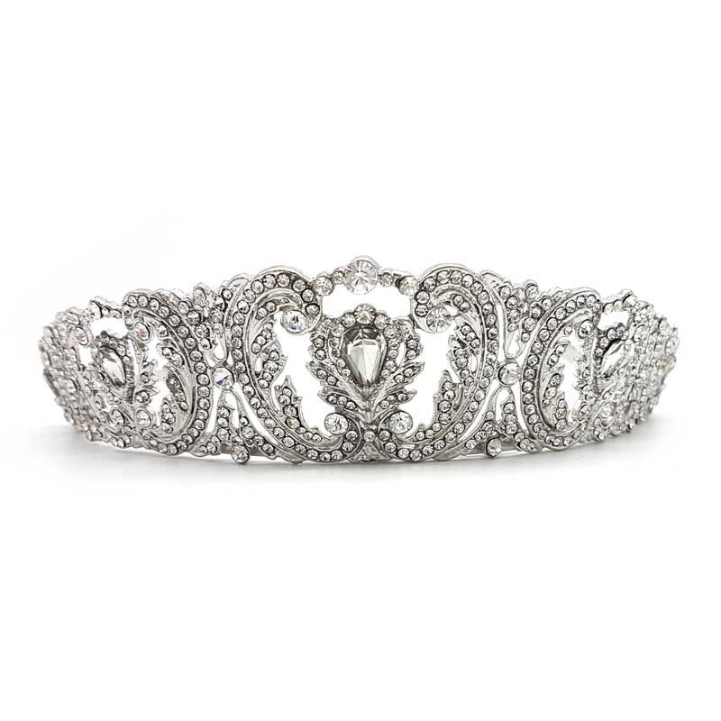 silver crystal bridal crown