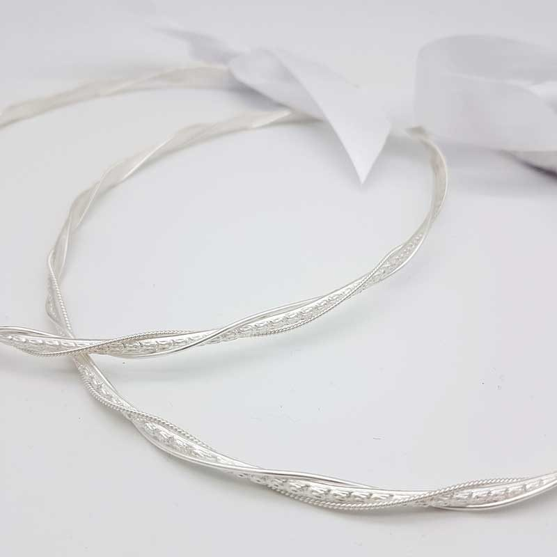 silver twisted greek wedding crowns
