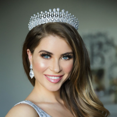 silver cz bridal crown