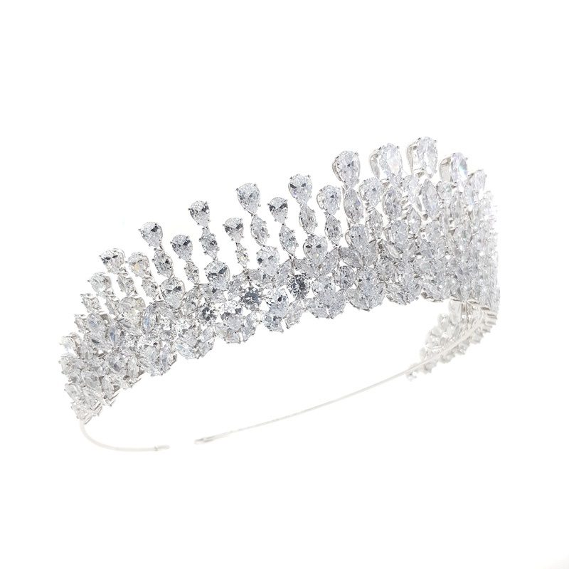 silver large bridal tiara
