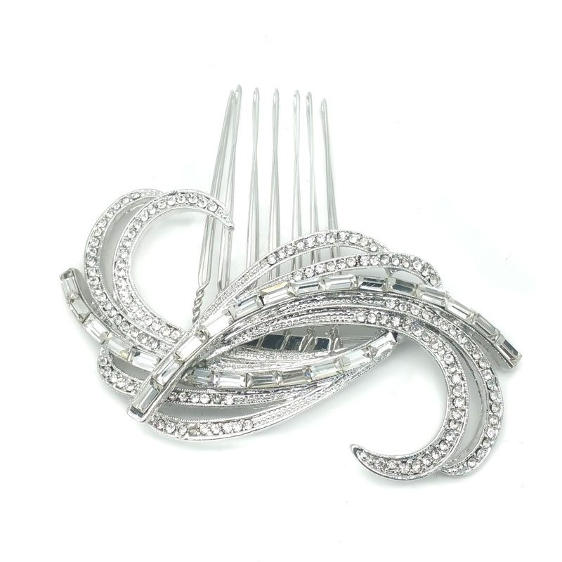 silver cyrstal brooch and hair comb