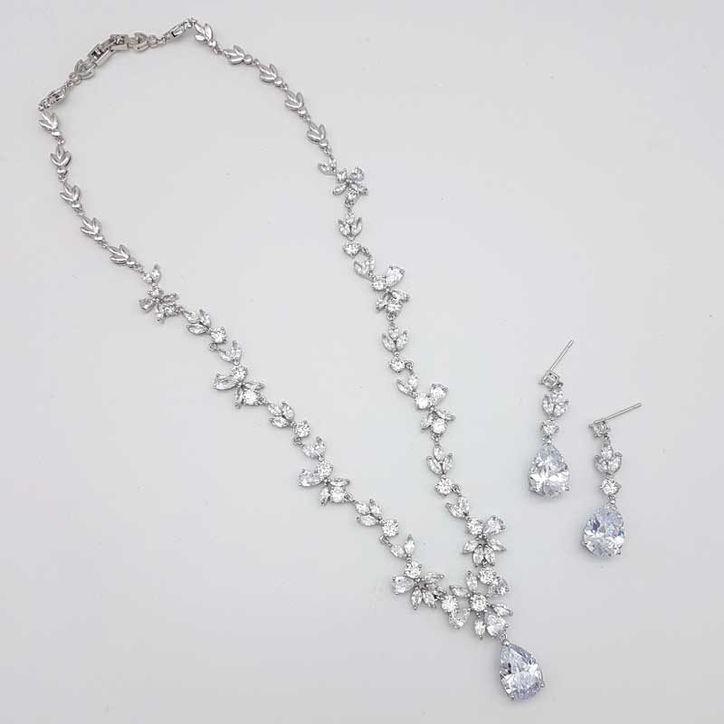 silver cz necklace earring set