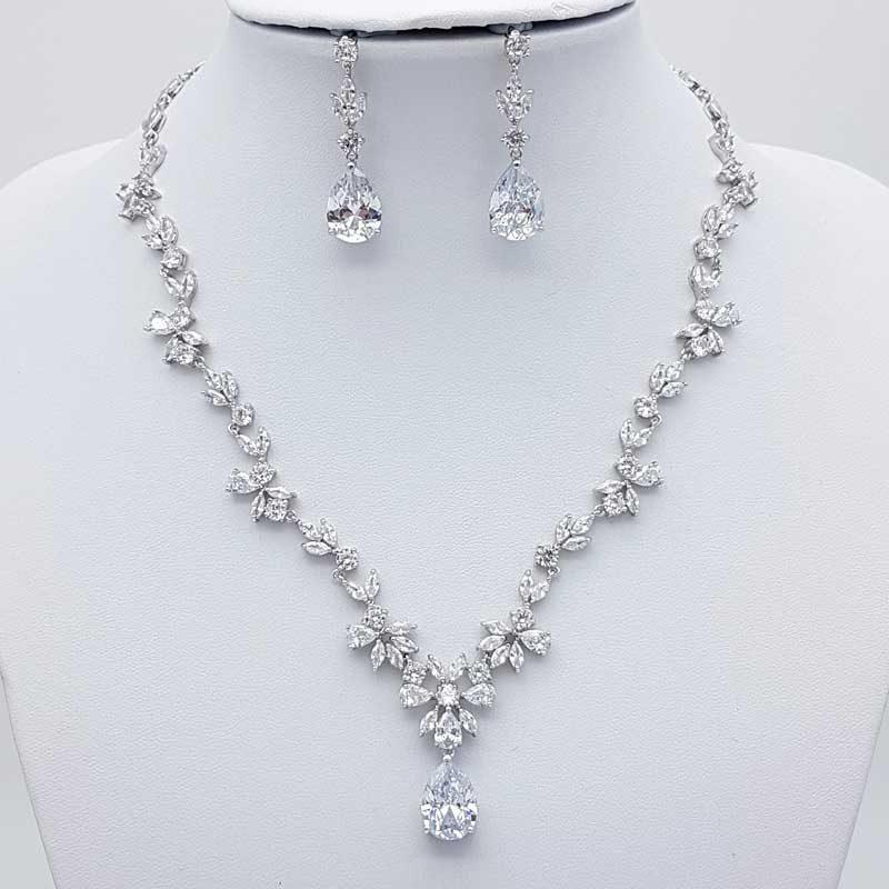 silver cubic zirconia necklace set