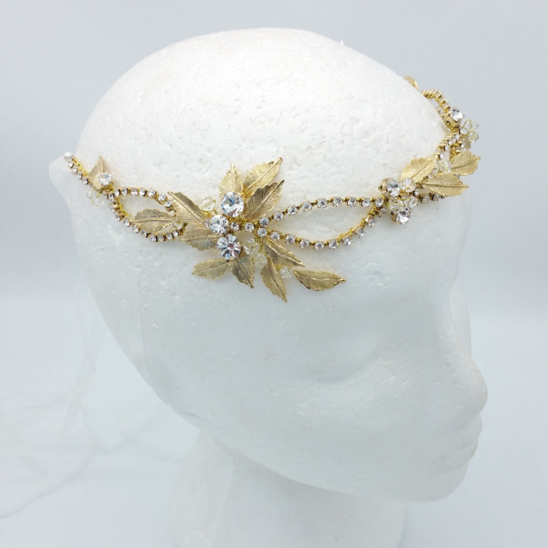 crystal gold leaf bridal hair vine and headband