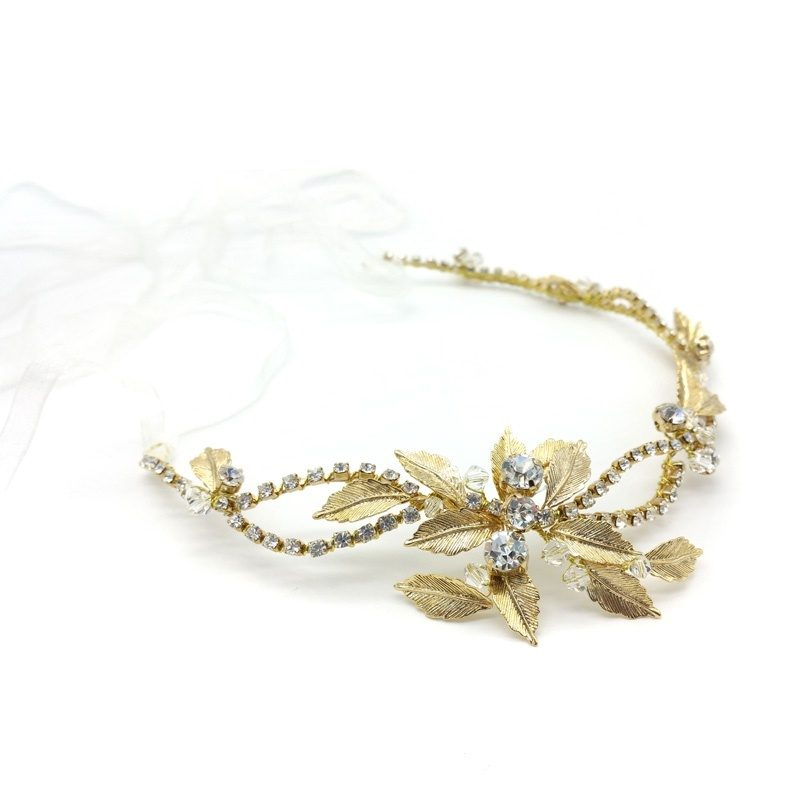 gold bridal hair vine and headband