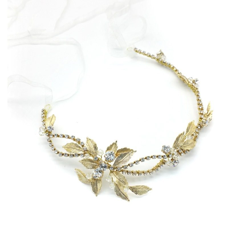 gold leaf crystal bridal hair vine/headband