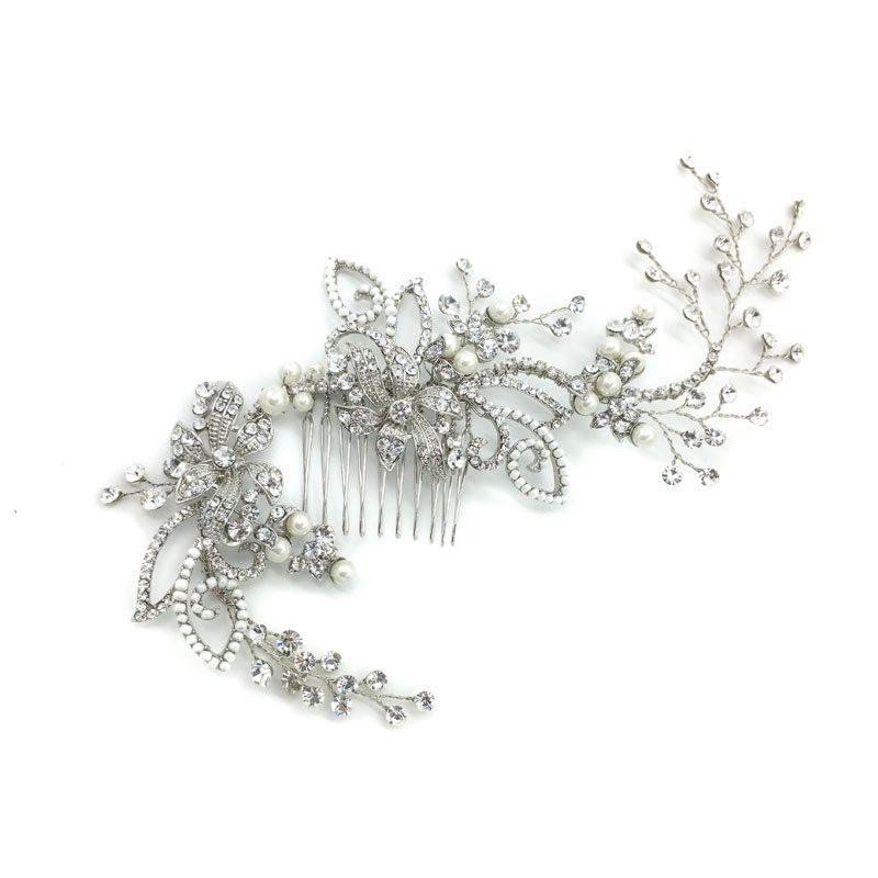 statement silver crystal hair comb