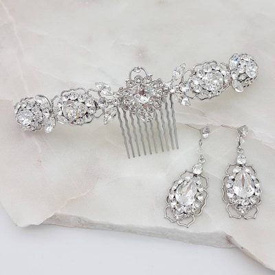 swarovski crystal hair comb and earring set