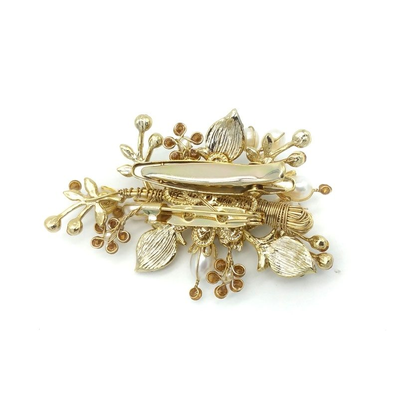 gold crystal and pearl brooch and hair clip