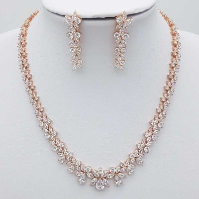 rose gold bridal necklace set