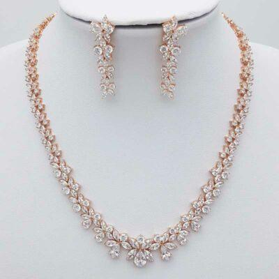 rose gold bridal necklace set