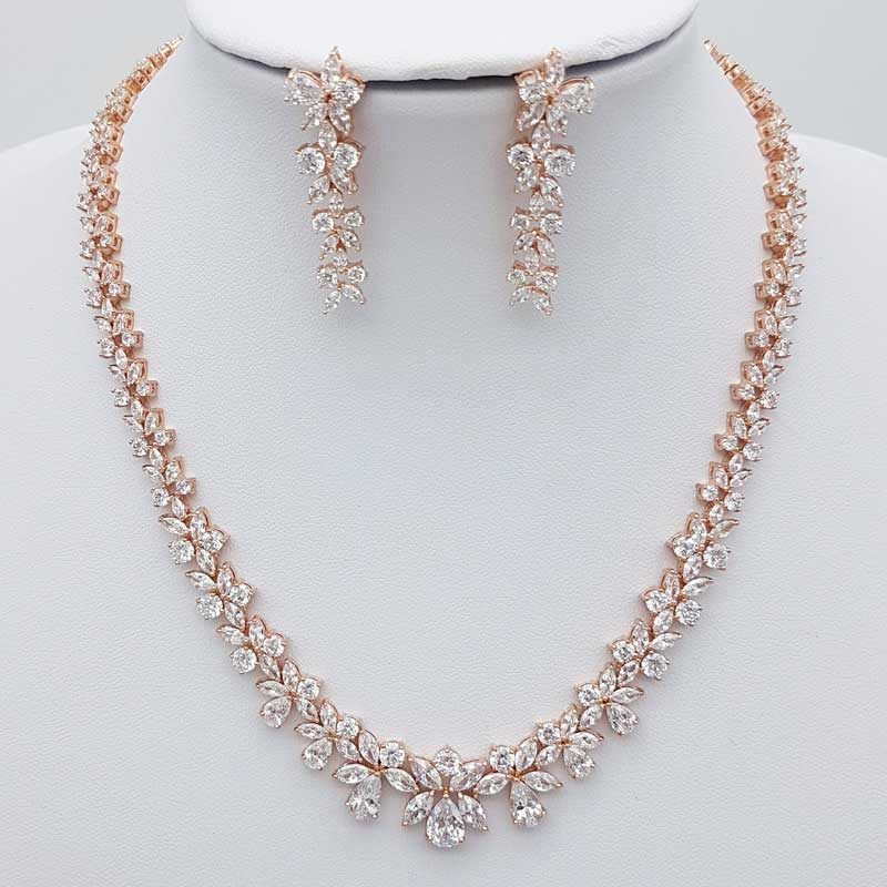 8122f2f45 Levinia' Bridal Necklace Set (Silver or Rose Gold) | Glam Couture