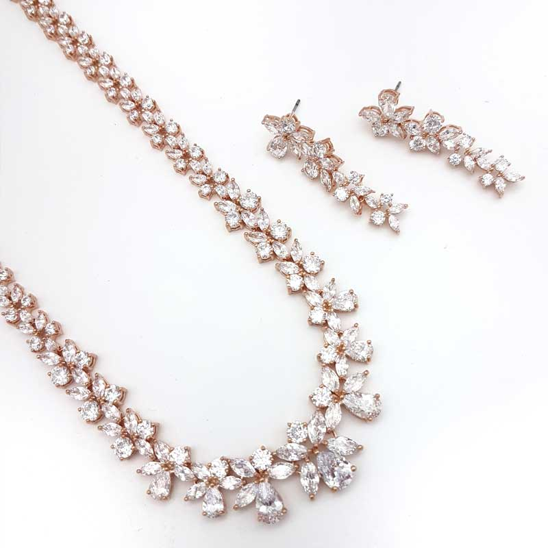 rose gold wedding necklace set