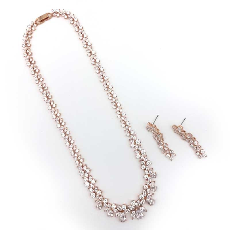 rose gold cz bridal necklace set