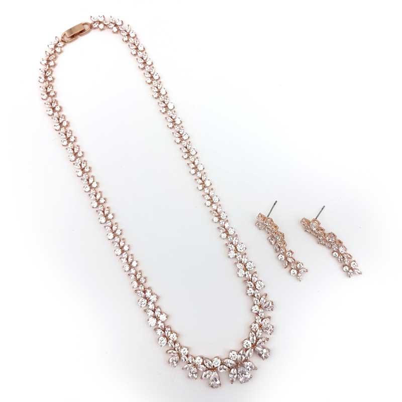 rose gold cz bridal necklace set