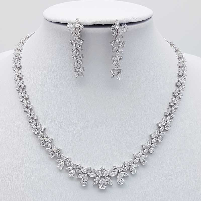 silver cz bridal necklace set