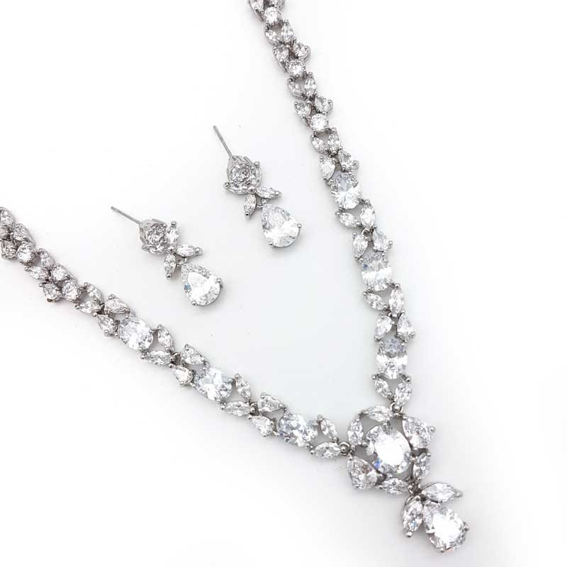 silver cz bridal necklace and earring set