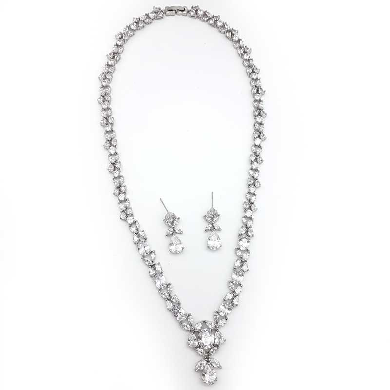 cubic zirconia silver bridal necklace set