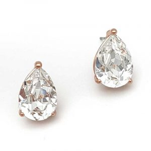 rose gold swarovski crystal tear drop studs