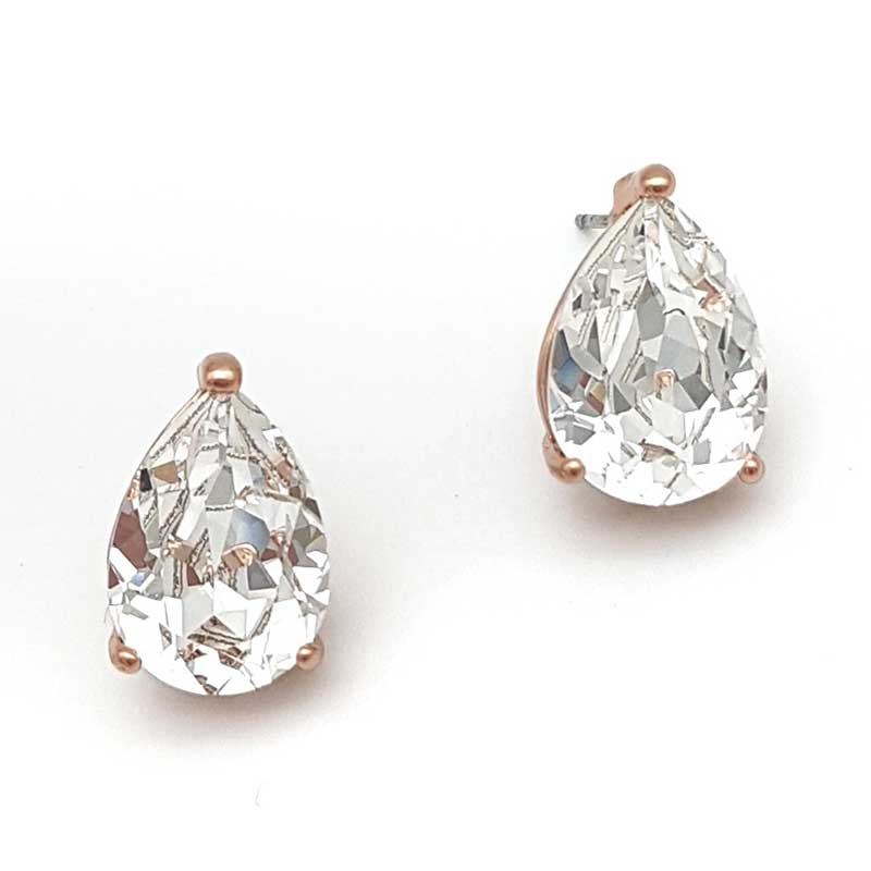 rose gold swarovski crystal tear drop studs