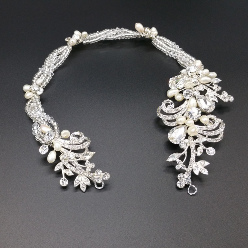 pearl and crystal bridal hair vine