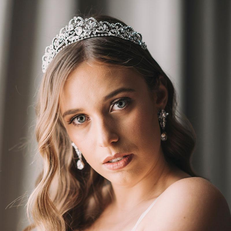 silver crystal bridal tiara