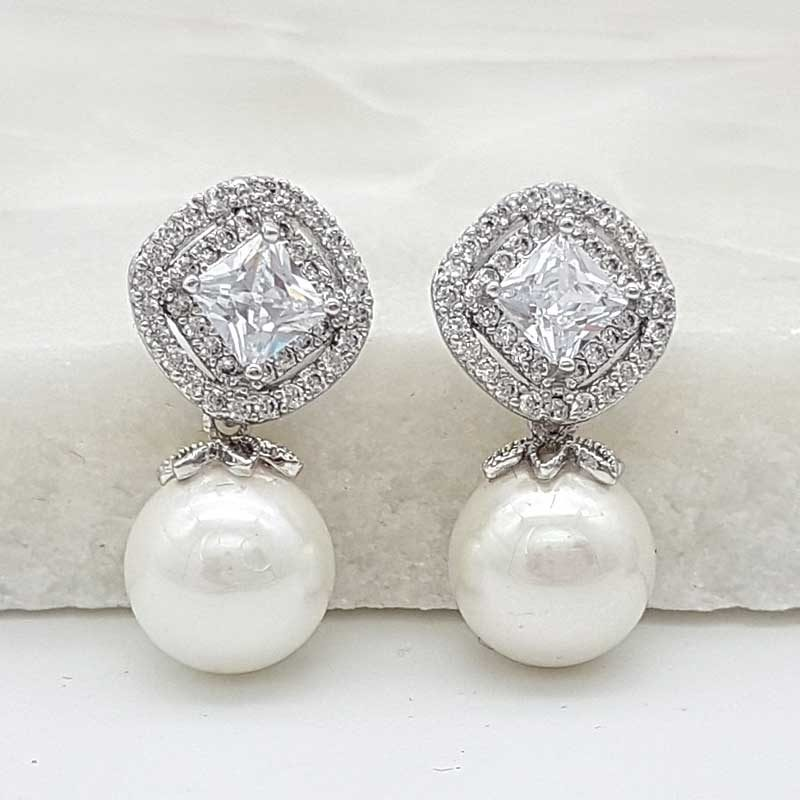 silver cz pearl drop earrings