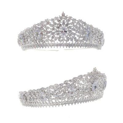 silver cubic zirconia bridal crown