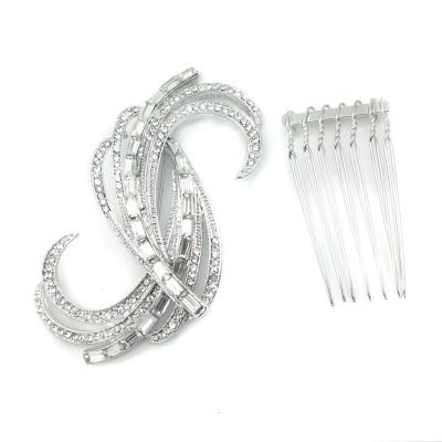 silver crystal bridal brooch or hair comb