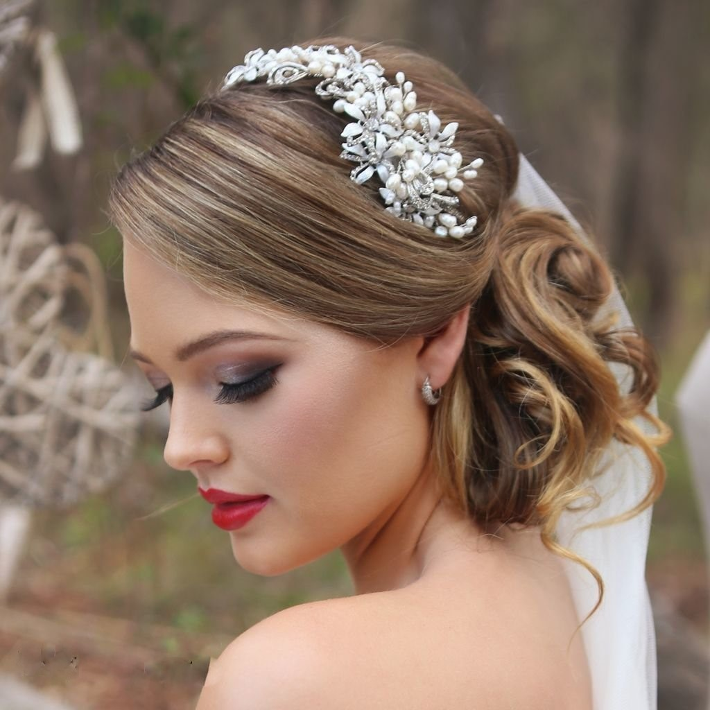 large silver pearl bridal head piece