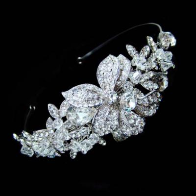 silver silver bridal crystal headband