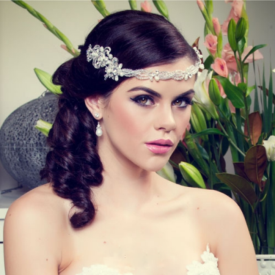 silver crystal hair vine headband