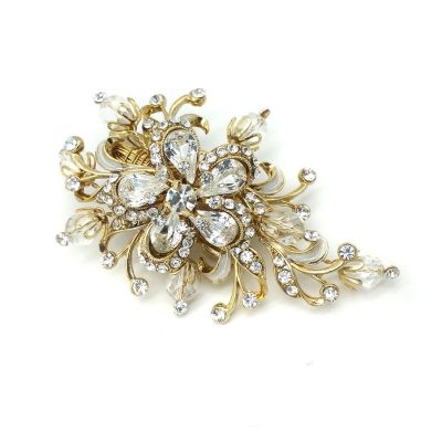 gold crystal bridal brooch and hair clip