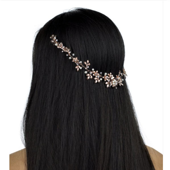 rose gold crystal hair vine