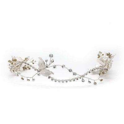 silver crystal hair vine