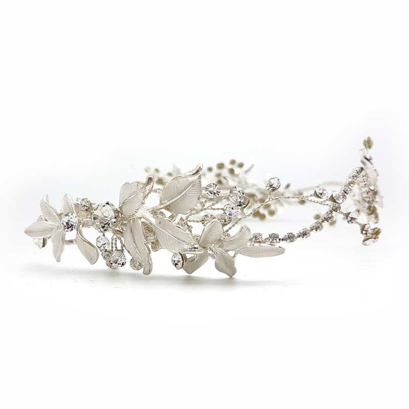 silver leaf crystal hair vine