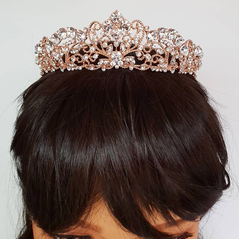 rose gold crystal bridal tiara